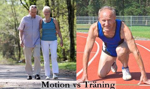 Skillnaden på motion och träning