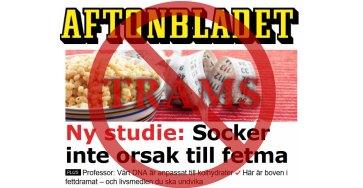 Socker orsakar inte fetma enligt Aftonbladet