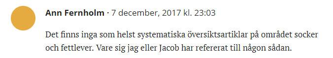 Fernholm påstår något som är felaktigt