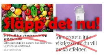 Om träning och protein i Läkartidningen och SvD