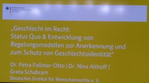 """""""Geschlecht im Recht: Status Quo & Entwicklung von Regelungsmodellen zur Anerkennung und zum Schutz von Geschlechtsidentität"""""""