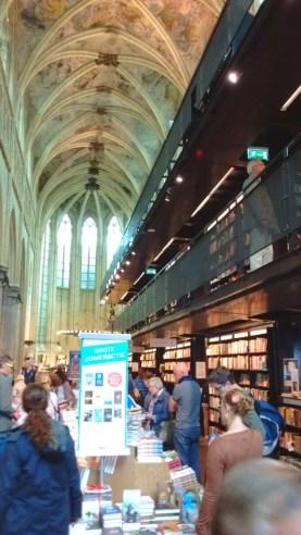 """Boekhandel Dominicanen"" at Dominicanerkerkstraat 1 - an old church, now a bookstore and café."