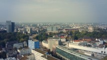 The view to the district of St. Pauli. On the right hand the rebuilt soccer stadium of St. Pauli.