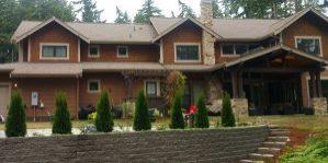 House backyard, retaining wall