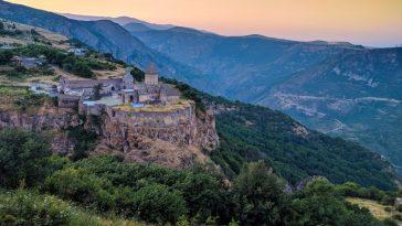 A sunset vista of Tatev Monastery in south Syunik, Armenia