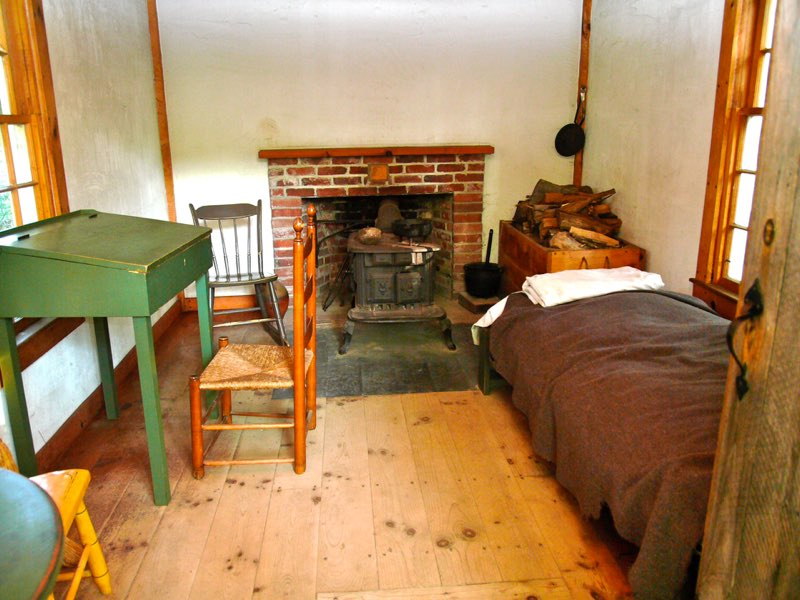 Interior of Thoreau's Cabin replica. Photograph by Barry M. Andrews.