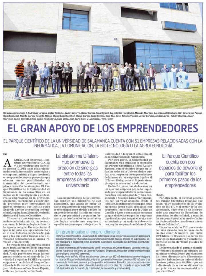 El Parque Científico y el emprendimiento en La Gaceta