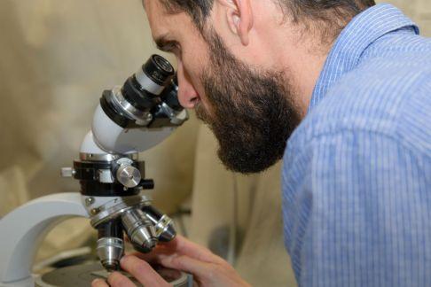 Antonio M. Álvarez Valero estudia unas muestras de roca volcánica en su laboratorio de Geología. Foto: Sergio Manzano