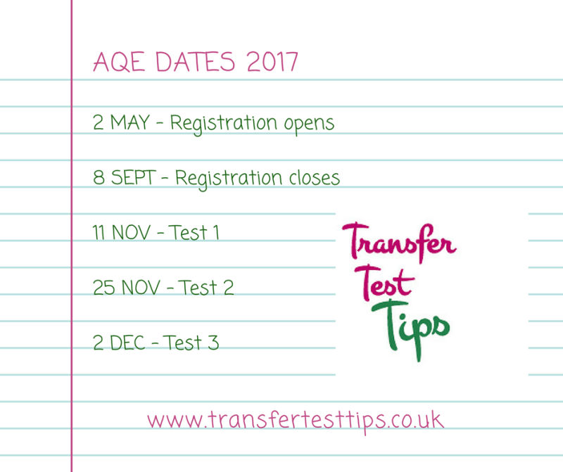 AQE test dates 2017