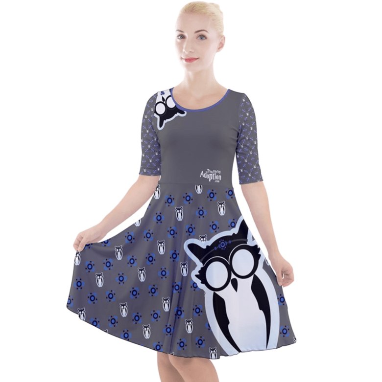 Owl (Blue) Patterned Dress - Quarter Sleeve A-Line Dress - Inspired by Ravenclaw