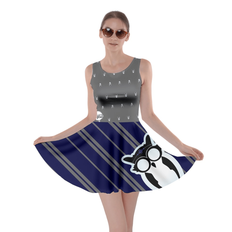 Owl (Blue) Striped Skater Dress - Inspired by Ravenclaw