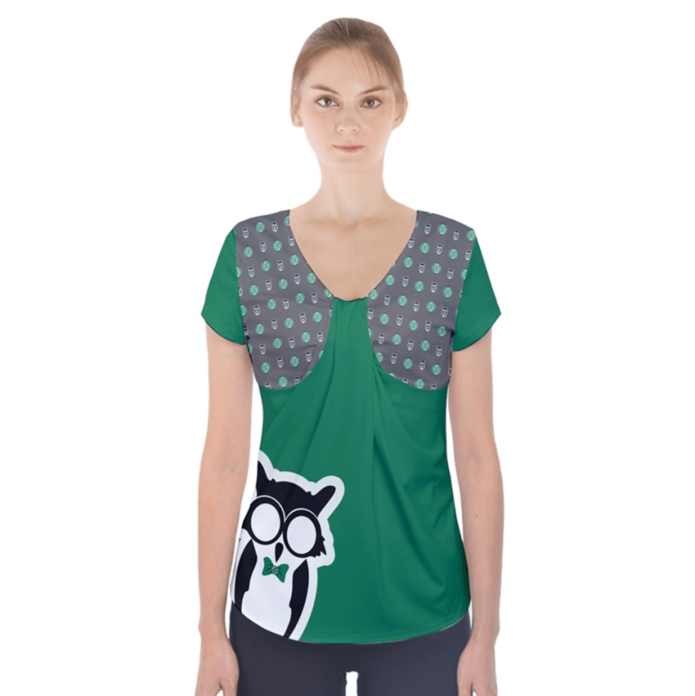 Green/gray Owl Short Sleeve Front Detail Top - Inspired by Slytherin