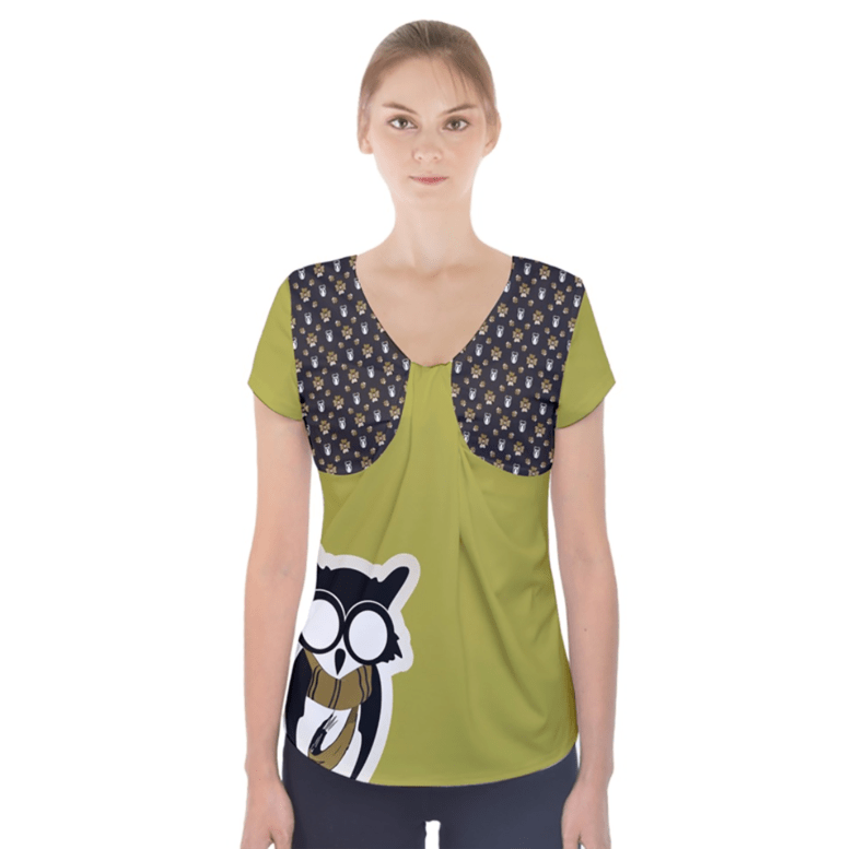 Yellow & Black Owl Short Sleeve Front Detail Top - Inspired by Hufflepuff
