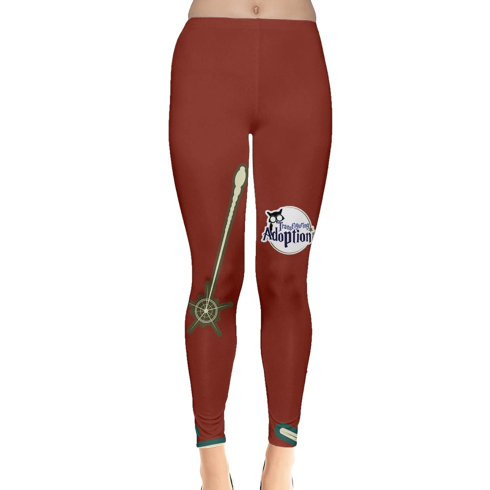 Vintage Emoji Owl Leggings (Solid Red Background)