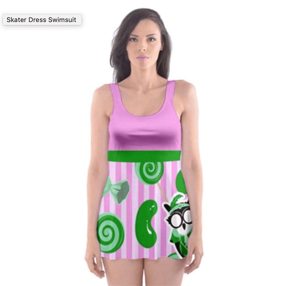 Candy Store Owl Skater Dress Swimsuit (Candy Pattern)