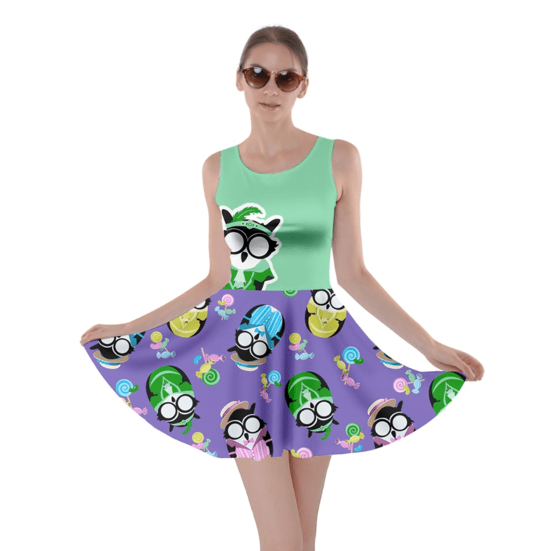Easter Egg Owl Skater Dress (green)