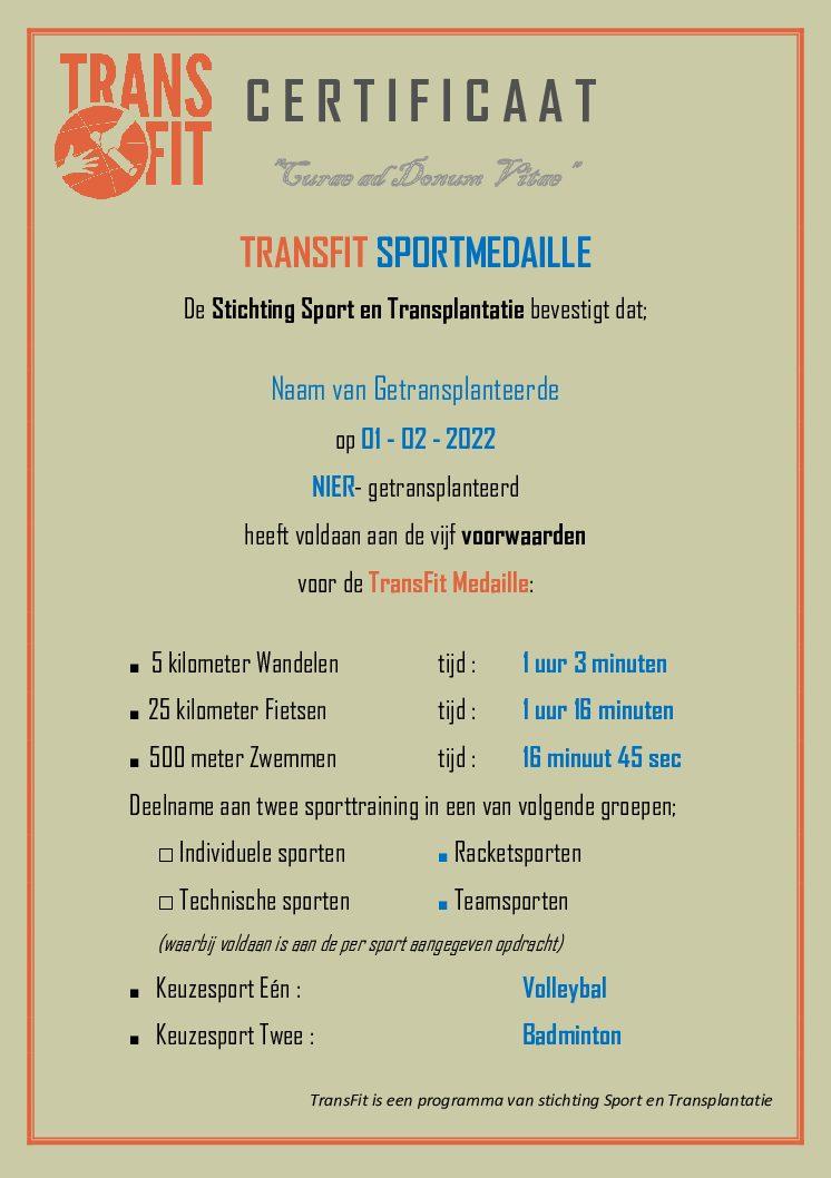 TransFit Sportmedaille