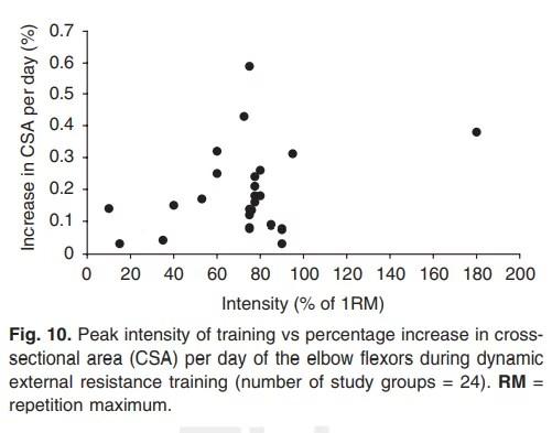 Augmentation dans le CSA du biceps quotidien selon l'intensité