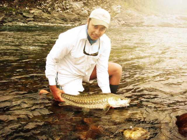 Misty Dhillon fly fishing Himalayas