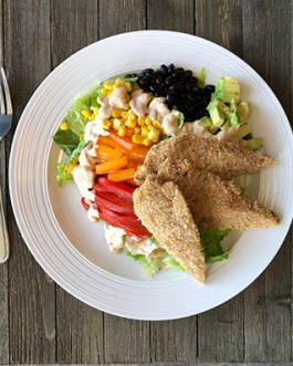 Live Healthy Chicken Strips and Southwest Salad with Chipotle Ranch