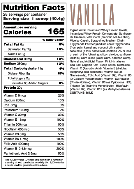 Chris + Heidi Vanilla Meal Replacement Shake Ingredients and Supplement Facts