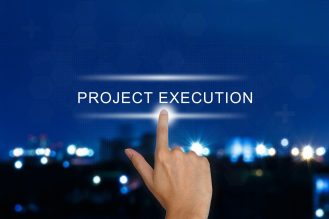 hand clicking project execution button on a touch screen interface