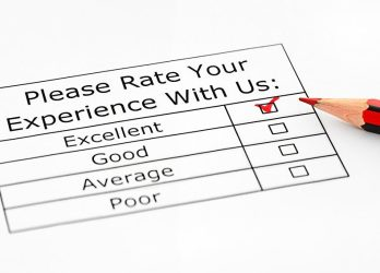 Excellent experience checkbox in customer service survey ** Note: Shallow depth of field