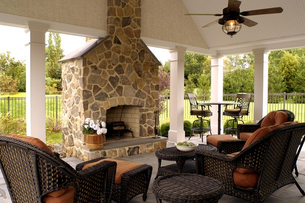 outdoor patio rooms with fireplace landscape design | Transforming Decor Home Staging and