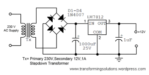 A simple 12 volt DC power supply circuit diagram