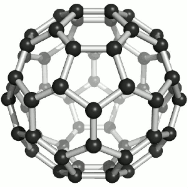 Fulleren-Molekül, benannt nach dem Architekten Richard Buckminster, der solche Formen für seine berühmten geodätischen Kuppeln benutzte.