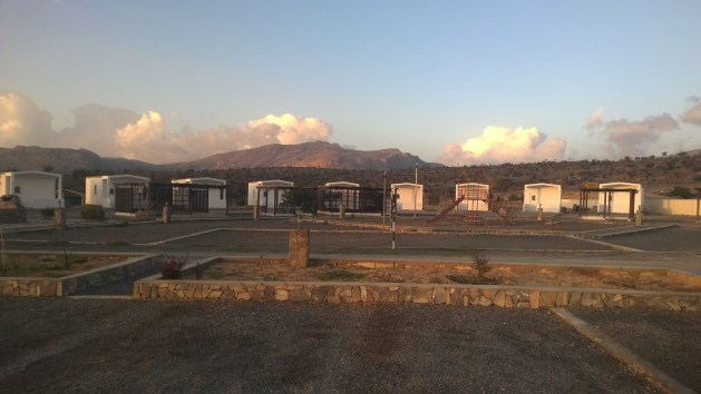 The private chalets at Jebel Shams Resort