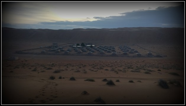 The sky above the Arabian Oryx Camp is getting dark..
