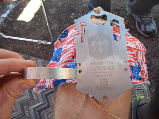 Ragnar Trail Tahoe race medal and K.I.A. bracelet honoring my friend Todd Godwin.