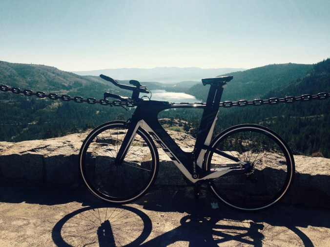 My triathlon bike posed near a scenic view overlooking Donner Lake in California. Bike riding is how I like to stay active