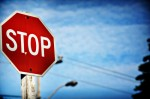 Stop sign with a blue sky background