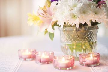 Valentine's Day flower and candle arrangement