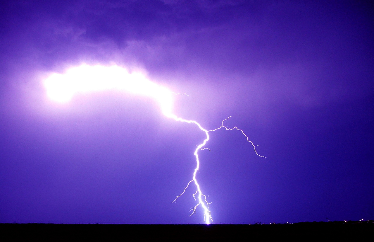 lightening symbolizing severe weather due to climate disruption