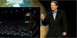 Al Gore with the hockey stick graph