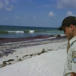NWS employee on Gulf beach