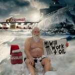 Santa with oil tanker