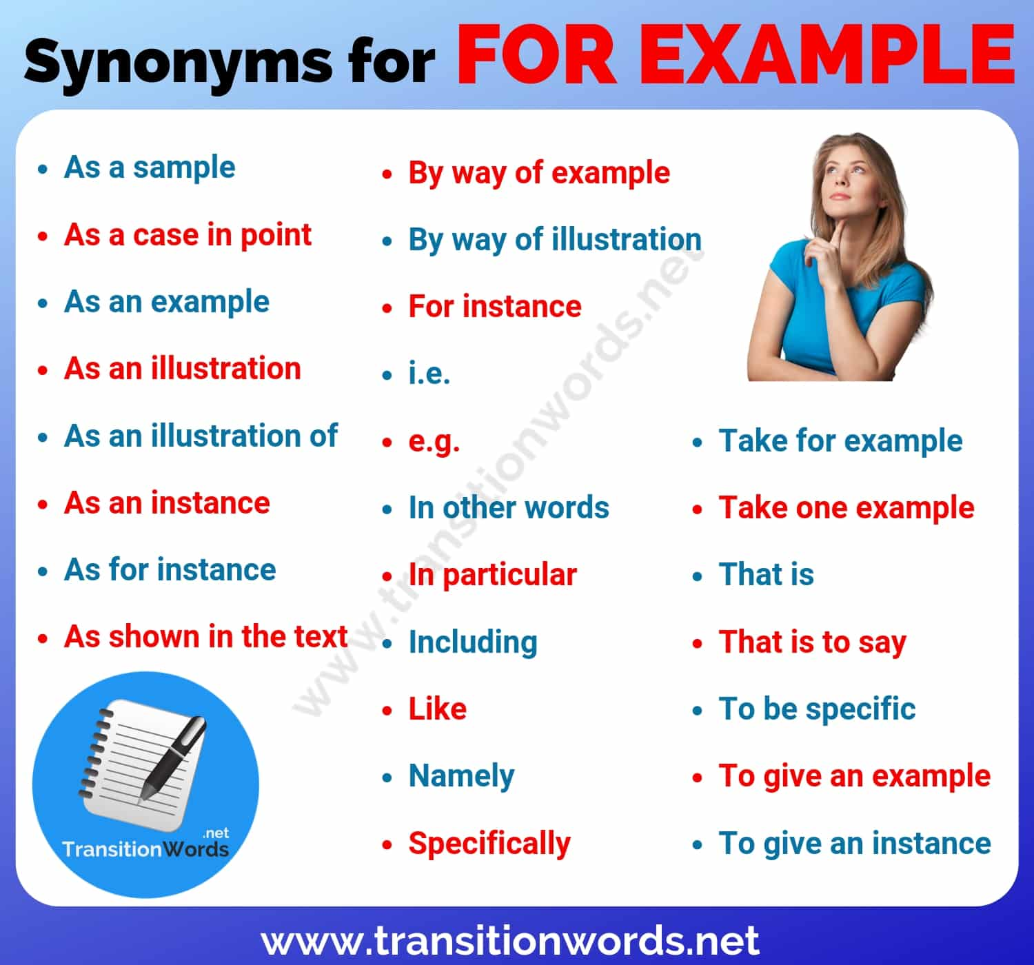 For Example Synonym List Of 26 Powerful Synonyms For For