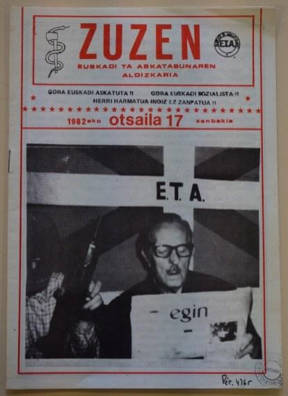 Forsiden på et av ETAs medlemsblad Zuzen. Bilde: Médiathèque Centre-Ville De Bayonne