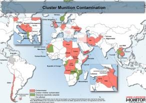 KONTAMINERT: Dette kartet viser land som fortsatt har områder påvirket av landminer. Kart: Landmine & Cluster Munition Monitor.