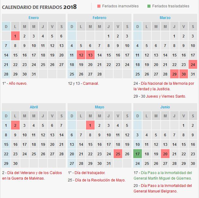 2018年阿根廷假期和長周末正式日曆