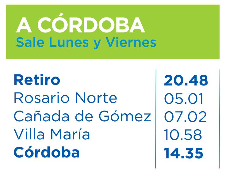 Horarios del tren Cordoba-Retiro Octubre 2015 desde Buenos Aires a Cordoba