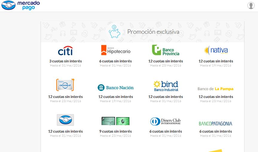 Promociones de bancos y tarjetas de credito en MercadoPago