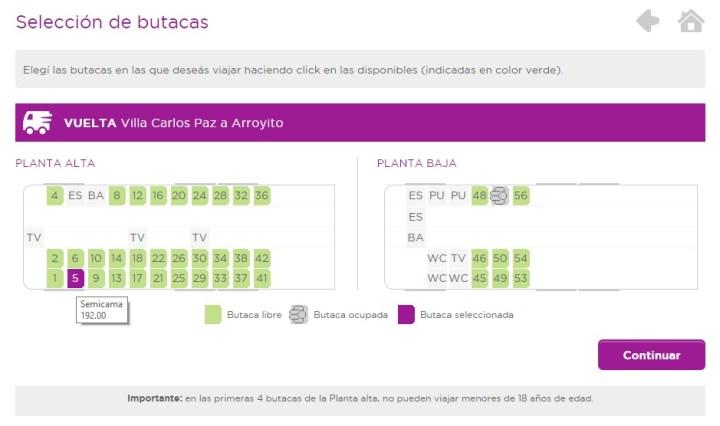 seleccionar asientos de colectivo para viajar boletería de pasajes
