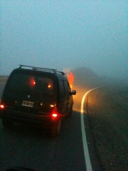 Camino del Cuadrado, cerrado por visibilidad reducida, niebla.