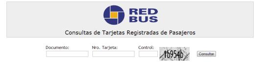 Consultar saldo de la tarjeta Red Bus desde el sitio web.  (Captura web)