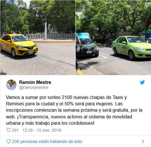 sorteo chapas taxi remis cordoba municipalidad twitter ramon mestre intendente
